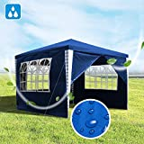 Hengda Pavillon 3x3m Wasserdicht Gartenzelt Bierzelt Blau UV-Schutz Partyzelt mit 4 Seitenteilen fr...