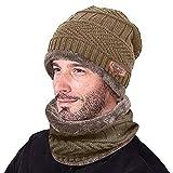 GOKOMO Männer warme Mütze Winter verdicken Mütze und Schal Zweiteilige Strickmütze...