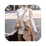 Almighty-shop Sweater Dress Damen Strickkleid für Herbst und Winter, mit Puff-Schultern, Pink -...
