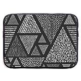 NA Laptoptasche Schwarz und Weiß Doodle-Stil Handtasche Laptoptasche Kompatibel 13-13,3 Zoll und 15...