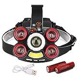 GMtes LED-Scheinwerfer 5 Modi Scheinwerfer Super Bright T6 Taschenlampe Stirn von 18650 USB...