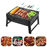 BBQ Holzkohlegrill Edelstahl Faltbare BBQ Grill Tragbarer Campinggrill Outdoor Picknickgrill...