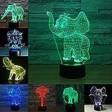 Boutiquespace 3D-Illusionslampe LED Nachtlicht Nachtlicht niedlichen Elefanten 3D-Licht LED 7 Farben...