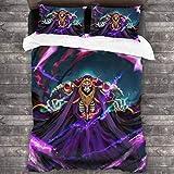 Yellowbiubiubiu Overlord Ainz Ooal Gown 3-teiliges Bettwäsche-Set, Bettbezug und Kissenbezug, mit 1...