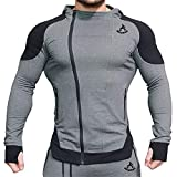 Mechaneer Herren Trainingshemd, langärmelig, Reißverschlusstaschen, Bodybuilding, Sweatshirts -...