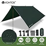 V VONTOX Zeltplane Wasserdicht, 3x3m-PU3000mm Regen Fliegen Sonnenschutz für Zelt, Anti-UV, Leichte...