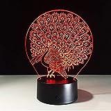 Boutiquespace 3D Optische 3D Peacock Visual Optische Täuschung Lampe LED Nachtlicht...