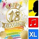 bentino Geburtstagskarte XL mit leuchtenden'KERZEN' zum AUSPUSTEN, Spielt den Song'Happy', DIN A4...