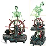 Guooe Aquarium Deko, DIY Landschaft Skelett Auf Rad Action Air Skeleton Captain Simulation Wasser...
