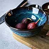 Dessertteller 7 Zoll Blau Keramik glasiert bowlCreative Startseite Ramen Retro Suppenschüssel...