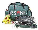 RSonic Gaskocher Campingkocher RS-3500C Keramikkopf 1,5kW + Tasche + 4 Kartuschen | Grün (ohne...