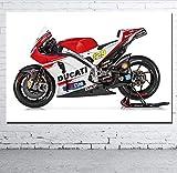 DPFRY Leinwandbilder Wandkunst Bild Ducatis Motorrad Rot Superbike Racing Sport Poster Drucken...