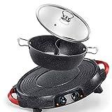 N/A ECSWP Rund Elektrogrill Platte zu Hause Indoor Elektro-Ofen Smokeless Barbecue Pot Kleinen Kebab...