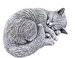 Steinfigur Katze schlafend, eingerollt, frostfest bis -30°C, massiver Steinguss