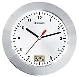 Bresser MyTime Bath Bad Wanduhr mit Temperaturanzeige und Quarz-Uhrwerk mit gebürstetem...
