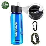 SGODDE Wasserfilterflasche Trinkflasche Filter Wasserflasche, integriertem Filter. Entfernt...