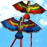 Groß Papageien Drachen Größe: 110 * 50CM-30m Drachensaite- 1,2m langer Spiralschwanz Einzelne...