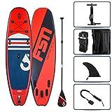 FSN Aufblasbares Paddle mit Paddel, Leash, Pumpe, Kajak-Ringe und Transporttasche, Vulk 9'4