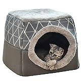 YunNasi Katzenhöhle Katzen Haus Katzenbett Haustier Pet Nest Schlafsack 2 in 1 Faltbar...