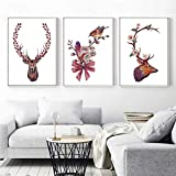 wtnhz Kein Rahmen Art Deer Flowers Wall Art Pictures for Living Room Modern Cute Animal Nordic...