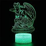 3D Illusion Nachtlicht Neuheit Drache Zahnlos LED Tischlampe Touch Fernbedienung 7 Farbe Kinder...