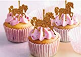 Karussell Pferde Cupcake Topper Glitzer Karussell Pferde Cupcake Topper Mdchen Geburtstag Junge...