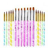 Xinstroe 17 Pack Nail Art Pinsel Acryl UV Gel Nagelbürsten Nail Art Staubpinsel Entferner Reiniger...