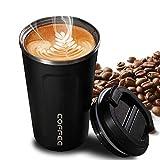 Faminess Kaffeebecher für unterwegs Coffee to go Thermobecher schwarz 500 ml aus Edelstahl mit...