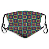 Face Mask,Modernistic Colorful Whirlpool Effect Nested Square and Circles Illustration,Mouth Mask...