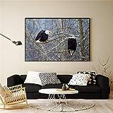 LUSESKY Bild Minimalistische Gemälde Leinwandbilder Wohnzimmer Lebewesen Vogel Adler Poster...