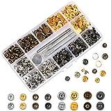 HAUSPROFI 120 Sets Druckknopf Kupfer Druckknöpfe Bronze Kleidung Snaps Taste mit Fixierwerkzeug Kit...