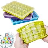LONCWO Eiswrfelform, 3er Pack Silikon-Eiswrfelschale mit Deckel, Einfach zum Herausnehmen...