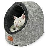 SCHLITZOHR Katzenhöhle Oskar   waschbare Premium Kuschelhöhle für Katzen & Hunde in edlem grau  ...