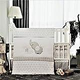 La Premura Baby Elefanten Kinderzimmer Wiege Bettwsche-Set - Graue Elefanten & Welpe 3-teilige...