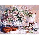 Lovefyl DIY 5D Diamant Malerei Voller Runder Bohrer Blume Und Geige Stickerei Für Home Wand-Decor...