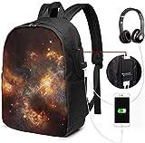 Rucksack mit 3D-Sternen, bunt, wasserdicht, mit USB-Ladeanschluss, Kopfhörer-Anschluss, passend...