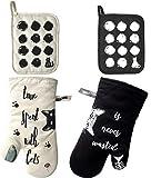 ZORR Ofenhandschuhe und 2 Topflappen Set aus Baumwolle bis 230C, Geschenke fr Katzenliebhaber,...