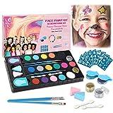 Kinderschminke Set, 16 Professionelle Face paint Schminkfarben Größere Kapazität, 64 Schablonen...