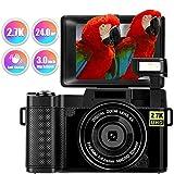 Digitalkamera Fotoapparat Digitalkamera 24 MP Full HD 2,7 K 25 FPS YouTube Kamera mit einziehbarer...