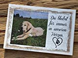 Gedenktafel aus Holz mit Leinen und Farbdruck | Holzschild zum Andenken an sein Haustier | Fotodruck...