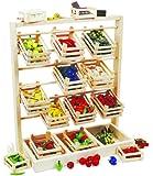 small foot 7035 Verkaufsstand aus Holz, großer Stand mit zwölf leeren Kisten, schöne und stabile...