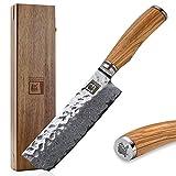 Zayiko Olive Damastmesser Nakirimesser - sehr hochwertiges sehr scharfes Profi Nakiri Messer mit...