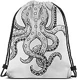nxnx Sketch Style Print of Blue Ringed Octopus 3D Print Drawstring Backpack Rucksack Shoulder Bags...