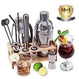 Fnboc Cocktail Set 15 Teilig, Cocktail Shaker, Cocktail Zubehör, 550 ML Cocktailshaker, Barmaß,...