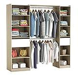 habeig RIESIGER Kleiderschrank #5077 begehbar offen Garderobe Schrank Regal Schublade (Wei +...