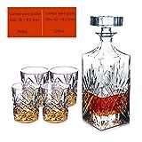 LPW Whiskey Karaffe Set, 5-Teiliges Whiskey Karaffe Set, Bleifrei Kristallgläser,C