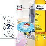 AVERY Zweckform L6043-25 CD-Etiketten (A4, 50 Stck,  117 mm, 25 Blatt) wei