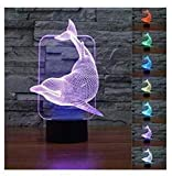 XLLJA 3D Kinder Eule Illusion,3D Lovely Dolphin Night Light Illusion Lamp 7 Color Change LED Touch...