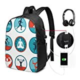 Backpack,Graphic Circular Icons with Jogging Swimming Meditation Sports Themed Signs
