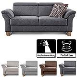 Cavadore 3-Sitzer Sofa Ammerland / Couch mit Federkern im Landhausstil / Inkl. verstellbaren...